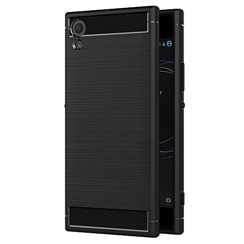 AICEK Coque Sony Xperia XA1 Ultra, Noir Silicone Coque pour Sony XA1 Ultra Housse Fibre de Carbone Etui Case (6,0 Pouces)