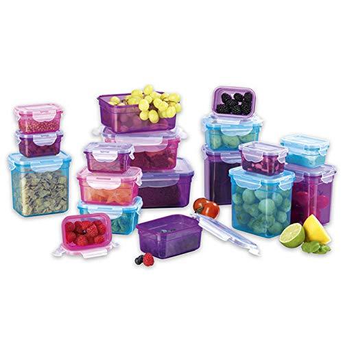 GOURMETmaxx Frischhaltedosen klick-it 36 TLG. | Spülmaschinen- Mikrowellen- und Gefrierschrankgeeignet | Deckel BPA-frei mit 4-Fach-klick-Verschluss | Ineinander stapelbar [5 Größen blau, lila, pink]