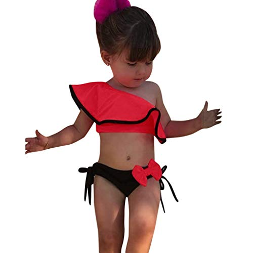 VECDY Bañador Bebe Niña, 2 Piezas Traje De Baño Moda Monokini Sin Tirantes Sólido con Volantes Dividir Natación Verano Tops Pantalones Cortos Monokini Bañador 2019 Brasileño Bikini (Rojo,120)