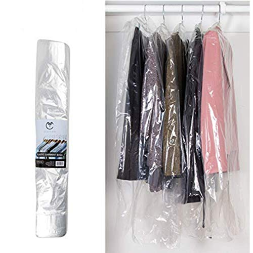 40 Inch Garment Bags | 80 Gauge Dry Cleaning Laundrette Bag for Suits, Dresses, Gowns, Coats, Uniforms, & More | Clear Polyethylene Clothes Cover Protector | 50 Count