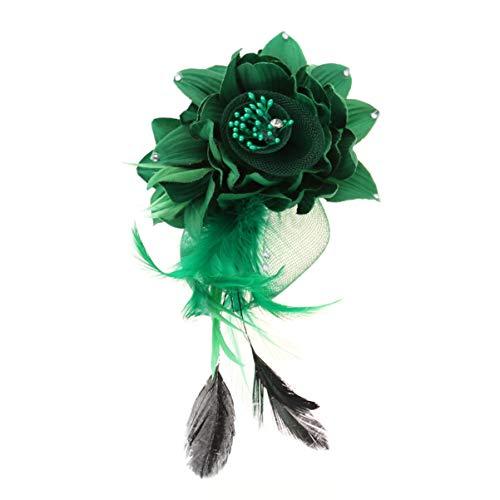 Lurrose Broches de Plumas de Flores Broches de corpiño Broche de Horquilla Pinzas para el Cabello de Flores Hechas a Mano Gorras para la Cabeza para Mujeres niñas (Verde)