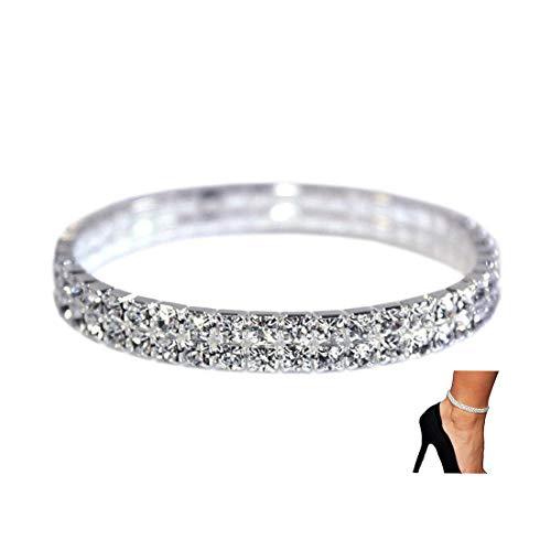 NewChiChi 2 STÜCKE Shining Twinkle Diamant Fußkettchen Elastische Bling Brilliant fuß schmuck Armband Braut Sommer schmuck Kleid