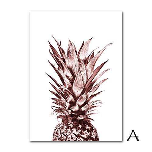 HHBACE affiche parfum fles poster abstract hert canvas schilderij roze goud muurkunst ananas canvas print modieuze citaten afbeelding wooncultuur 50X70cm Unframed A