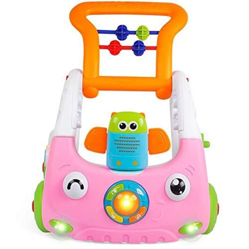 Olz BabyLauflernhilfe,3-in-1 Einstellbare Höhe Baby-Activity Walker mit Musik, Beleuchtung, Anti-Rutsch-Rädern, Kleinkind Spielt Pusher Auto, ferngesteuertes Lernspielzeug,Rosa