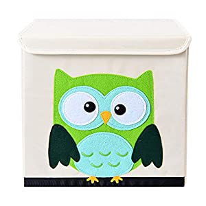 Bagnizer Animal Kids Toy Storage Organizer with Flip-top Lid Foldable Toy Chest Fabric Toy Bin/Boxes/Basket/Trunk for Girls and Boys Kids Toddler Nursery, 13inch Cube, Green Owl