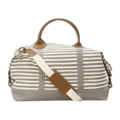 Tag&Crew Stripe Signature Duffle Bag, Large, Made of 20 oz. Heavy Canvas, Size 15 H x 28 W x 10 D Inches - Grey