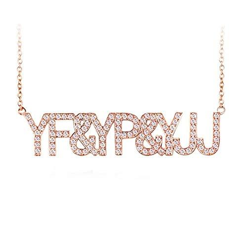 Halsketting Diamanten Hanger voor Vrouwen 14/18 Effen Goud CT Diamant en Brief Hanger, Metalen Stempel: 585 Goud