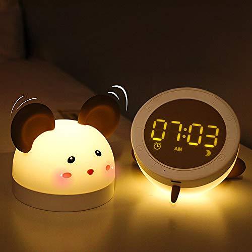 Lanlan Ting Niedlicher elektronischer Kleiner Wecker der Maus führte Student Kinder Cartoon stumm Digitale elektronische Uhr Nachtlicht am Bett Countdown Schlaflampe begleiten