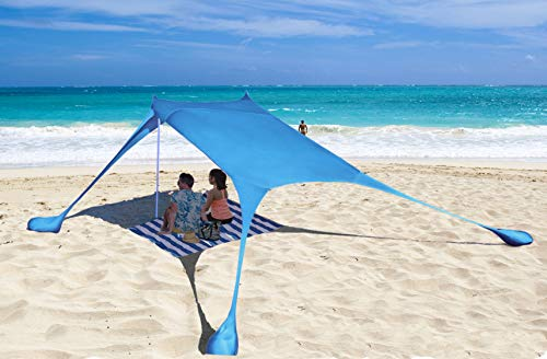 AMMSUN Beach Tent with sandbag Anchors, Portable Canopy Sun Shelter,7 X 7ft -Lightweight, 100% Lycra SunShelter with UV Protection. Sunshade for Family at The Beach, Parks, Camping & Outdoor Blue