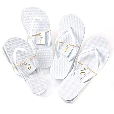 Bulk Flip Flops for Wedding Guest | 52 Pack White Wholesale Flip Flop Sandals | Twine Wrapped Individually with Decorative Size Cards and Wedding Reception Sign Included…