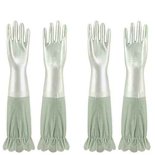 Jeerhope Latex Handschuhe Geschirrspül Reinigung Gummi Silikon Handschuhe Wiederverwendbare Geschirrspülhandschuhe für die Haushalt, Abwasch 2 Paar (Hellgrün)