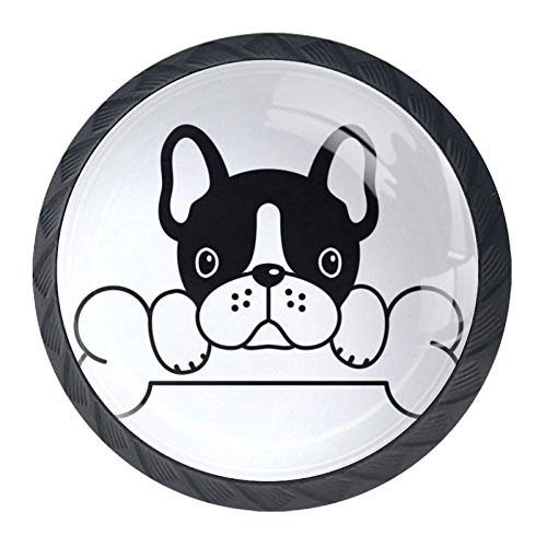 Shiiny French Bulldog Bone Drawer Knob Pull Handle Glass Circle Shape Cabinet Drawer Pulls Cupboard Knobs with Screws for Home Office Cabinet Cupboard Set of 4