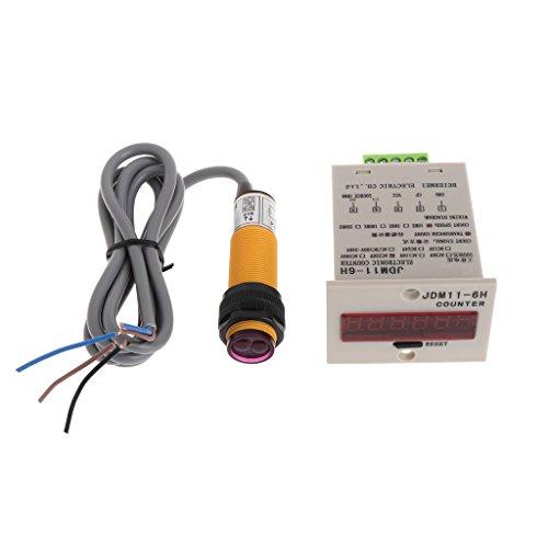 Yyooo 6-stellige LED-Anzeige 1-999999 Zählereinstellbarer NPN-Lichtschranke
