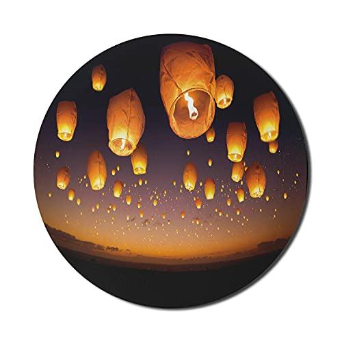Nachthimmel-Mauspad für Computer, Zeremonienwunsch für Glücksballons Chinesische fliegende Laternen Landschaftsbild, rundes rutschfestes dickes Gummi-modernes Gaming-Mauspad, 8 'rund, orange und schwa