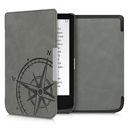 kwmobile Case Compatible with Pocketbook Touch Lux 4/Lux 5/Touch HD 3/Color (2020) - PU Nubuck Leather Protective e-Reader Flip Case Cover - Navigational Compass Grey