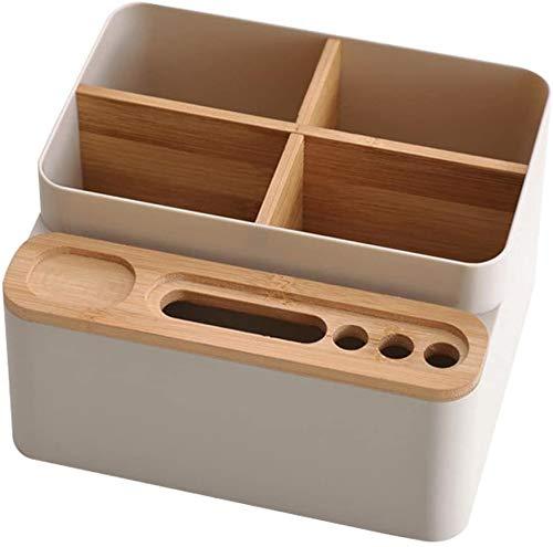 Caja organizadora de escritorio de bambú de madera, caja de almacenamiento...