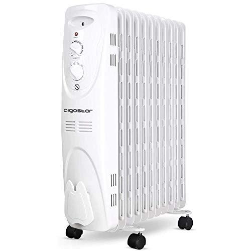 Aigostar 33IEJ – Radiateur à bain d'huile portable. 11 éléments, 2300 W. 3 niveaux de puissance et thermostat réglable. Couleur: gris clair. Design exclusif.