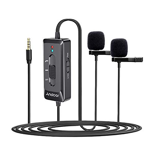USB Condenser Microphone, Andoer Dual Mics Omni-directional Lavalier...