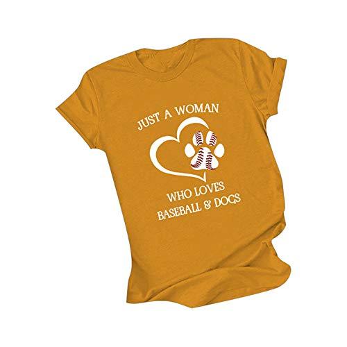 Just a Women Who Love - Camisetas de béisbol y perros para mujer, diseño de corazón con huellas de perro