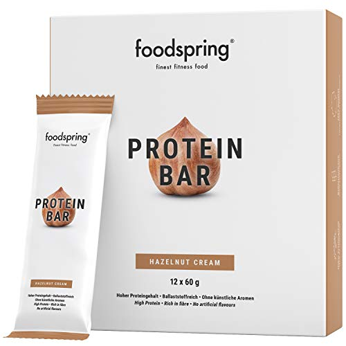 foodspring Protein Bar en paquet de 12, Crème de noisette, Plein de goût et plein d'énergie, avec très peu de sucre et beaucoup de protéine