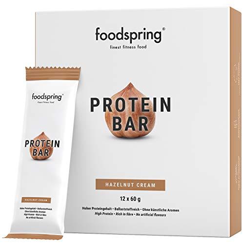 foodspring Protein Riegel Hazelnut Cream, 12er Pack Eiweißriegel ohne Zuckerzusatz, Hergestellt in zertifizierten Produktionen in Deutschland
