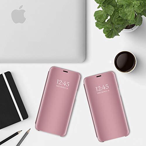 Kompatibel Mit Huawei P30 Pro Hülle, Clear View Cover Spiegel PC Flip Case Handyhüllen für Huawei P30 Etui mit Standfunktion 360 für P30 Lite Schutzhülle (Rotgold, P30 lite 6.0
