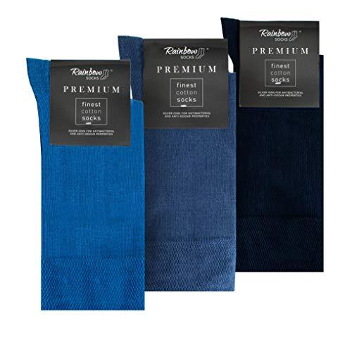 Rainbow Socks - Hombre Elegantes Calcetines Antibacterianos con Iones de Plata - 3 Pares - Azul Jeans de Colores Azul Oscuro - Talla 42-43
