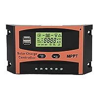 12V / 24V MPPT充電コントローラー、オレンジおよびブラックMPPTバッテリー充電器、屋外発電機用ソーラーパネル用(60A)