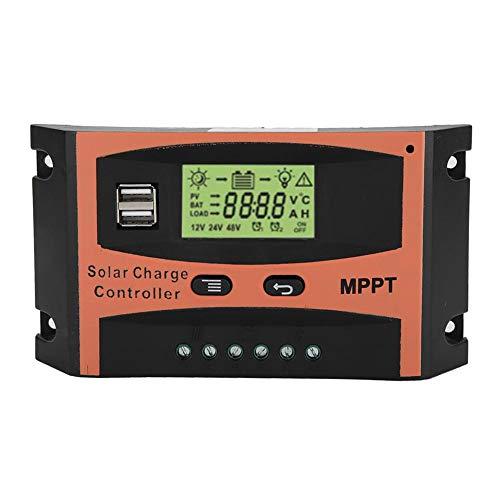 Contrôleur de charge solaire MPPT, régulateur de batterie de panneau solaire 12V/24V avec écran LCD, protection contre les surcharges pour la maison, l'industrie, le commercial, 60A(60A)
