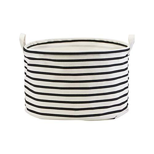 House Doctor 205720441 Aufbewahrung, Stripes, Schwarz/Weiß, h: 25 cm, Dm: 40 cm, Steinzeug