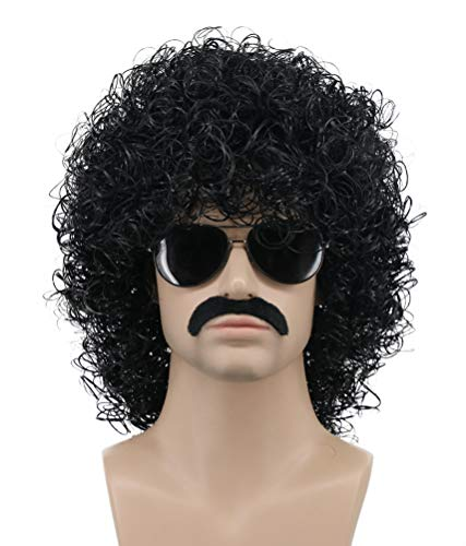 Karlery Mens Short Curly Black Rocker Mustache Beard Wig California Halloween Cosplay Wig Anime Costume Party Wig (Black)