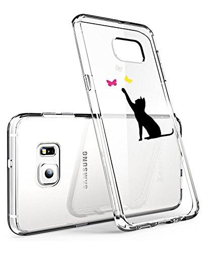 Funda Galaxy S6 Edge Plus transparente de silicona ultra simpática Panda diseño animal Ultra Slim funda de silicona antigolpes antiarañazos suave para Samsung Galaxy S6 Edge Plus Gatto Nero M