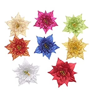 Toddmomy Christmas Glitter Poinsettia Flowers Silk Flowers Picks Xmas Tree Flowers Ornaments Christmas Garland Decorations for Winter Holiday Party Wreath Tree Garland 8 Pcs
