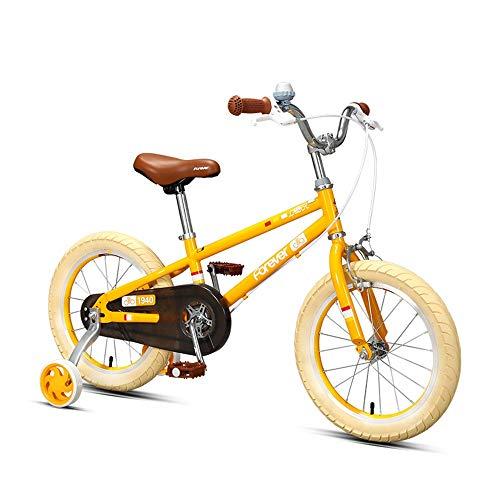 Axdwfd kinderfiets Freestyle kinderfiets jongens en meisjes, met hi-ten stalen frame, BMX-transmissie, kinderfiets met 85% gemonteerd, wielmaten 14/16 inch, groen, geel