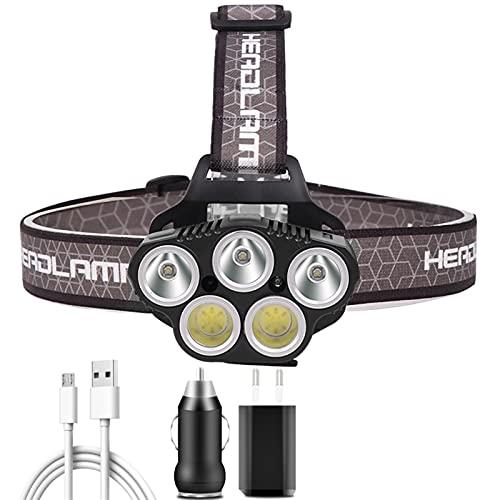 Linterna Frontal Luz especial para exteriores 5 LED faro portátil USB recargable recargable en cabeza de batería Lámpara de linterna Luz de antorcha para pescar (Emitting Color : Package B)