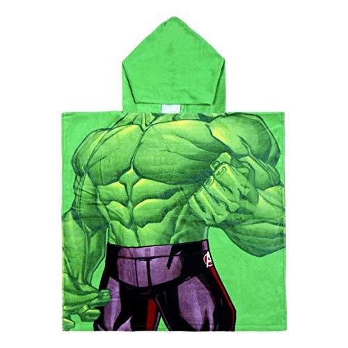 ARTESANÍA CERDÁ Toalla poncho infantil Marvel Avengers Spiderman, Iron Man, Capitán América, Hulk | 100% algodón 300 g/m² | 60 x 120 cm (Hulk)