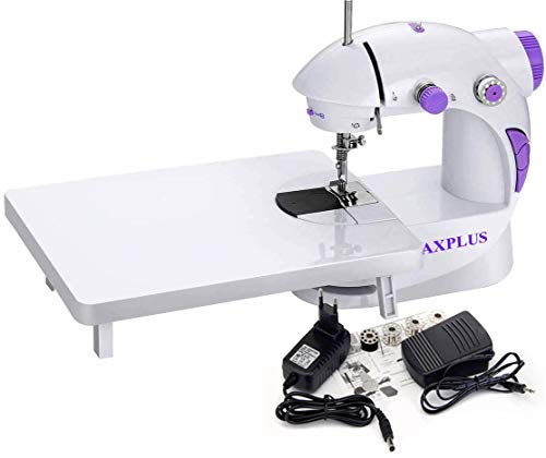 CHILLAXPLUS Mini Portable Electric Dual Speed Sewing Silai Machine with Foot Pedal, Adaptor, Working Light and Extension Table