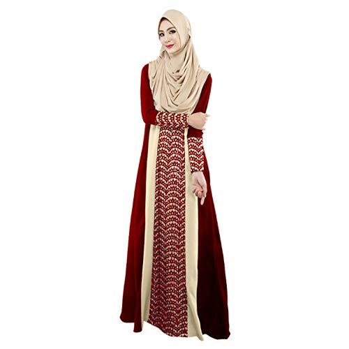 Islamische Kleidung, Muslimische Kleider Damen, Muslimisches Frauen-Elegantes Weinlese-langes Kleid, Maxi-Kleid Dubai-ethnisches Patchwork-Kleid Islam Abaya Kaftan Moslem (Rot, M)