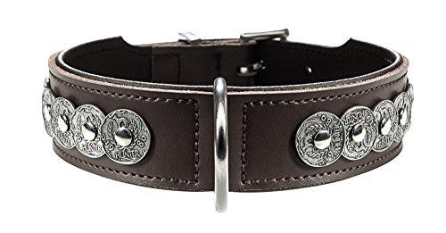 Hunter Basic Rom Collier en Cuir Fendu Marron/Noir Taille L 55 cm