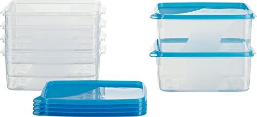 MiraHome Frischhaltedose Gefrierbehälter 1,3l rechteckig hoch 18x12x8,5 cm 6er Set blau Austrian Quality