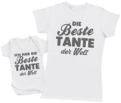 Die Beste Tante der Welt - Passende Tante Baby Geschenk Set - Damen T-Shirt & Baby Strampler - Weiß - S & 74 (6-12 Monate)
