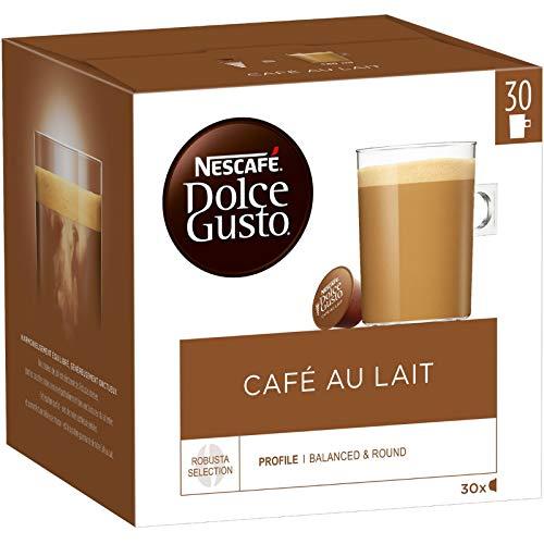 NESCAFÉ Dolce Gusto Café au Lait XXL-Vorratsbox 30 Kaffeekapseln (100% Arabica Bohnen, leichter Kaffeegenuss mit Cremigem Milchschaum, Vorratsbox) 1er Pack Großpackung (1 x 30 Kapseln)