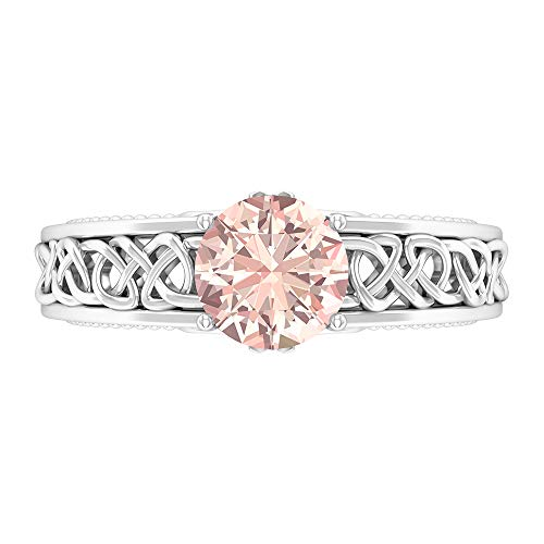 Anillo de compromiso con nudo celta de 7 mm creado en laboratorio, anillo de compromiso, anillo de boda de oro macizo, 14K Oro blanco, Size:EU 70