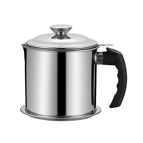 Oil Strainer Pot Stainless Steel Oil Storage Can 1300ML/43Oz with DustProof Lid amp Easy Grip Handleand Fine Mesh Oil Fat Separator for Storing Frying Oil and Cooking Grease