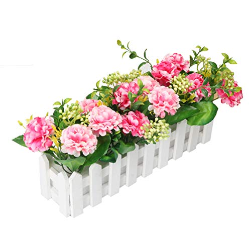 Flikool Hortensie Künstliche Blumen mit Zaun Gefälschte Hydrangea Künstliche Pflanzen mit Topf Simulation Topfpflanzen Bonsai Kunstblumen Kunstpflanzen Ornaments Dekorationen - Pink