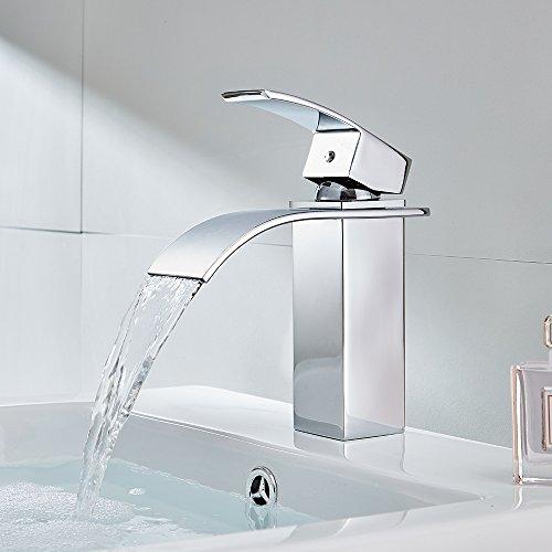 Auralum – Moderne Wasserfallarmatur für Waschbecken, Chrom - 8