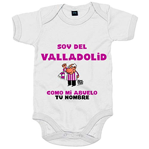 Body bebé soy del Valladolid como mi abuelo personalizable con nombre - Blanco, 6-12 meses