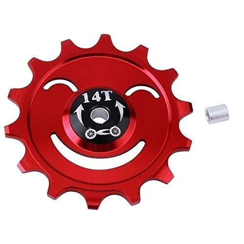 DER Rueda de guía de Bicicleta Polea Guía CNC Bici del Camino de cojinete de Rueda Jockey Cambio Trasero 14T MTB Bicicletas Rodillo Loco Bicicleta (Color : 14T Red)