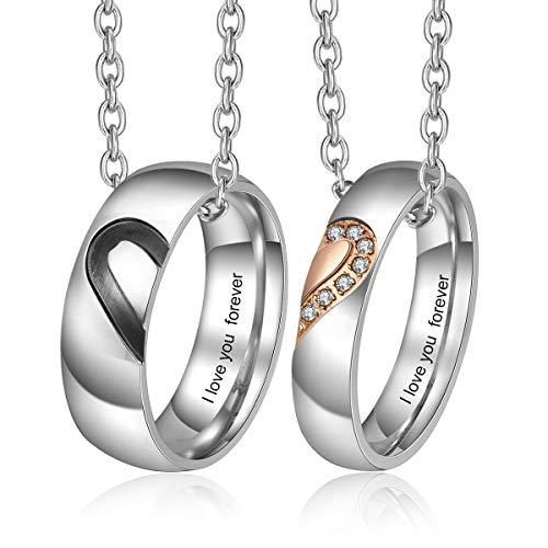 Lam Hub Fong Personalisierte Paar Ringe für Herren und Damen hochzeitsringe Verlobungsring Set für Paare Partner Edelstahlringe (Ring Paar+Kette)