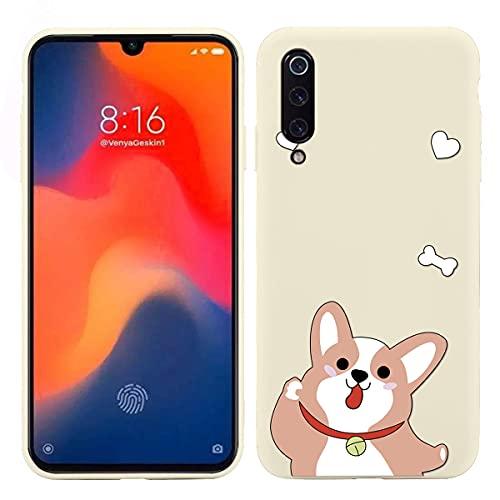 Pnakqil Capa de silicone fosco compatível com Xiaomi Mi CC9e / Mi A3 (branco), capa protetora de TPU com design bonito e macio à prova de choque para Xiaomi A3 6,0 polegadas - Cachorro